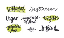 Set of labels with written inscriptions for gluten free, vegetarian, organic products, natural healthy food. Collection royalty free illustration