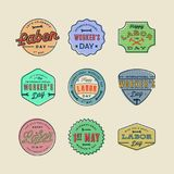 Set of labor day badges. international workers day vector Illustration. Set of labor day badges. international workers day greeting cards. vector Illustration royalty free illustration