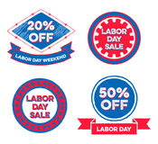 Set of Labor Day Sale Badges Royalty Free Stock Photography