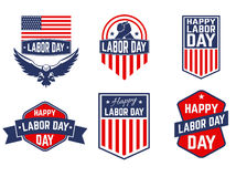 Set of Labor Day vector greeting card ,badge and labels. Royalty Free Stock Photos