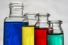 Set of laboratory bottles with liquid Royalty Free Stock Photos