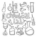 Set of laboratory equipment in black white outlined doodle style.Hand drawn childish chemistry and science icons set. Elements, vector illustration