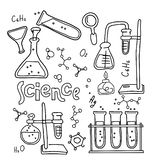 Set of laboratory equipment in black and white outlined doodle style. Hand drawn childish chemistry and science icons set. royalty free illustration
