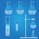 Set of laboratory flasks blueprint stock illustration