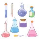 Set of laboratory flasks cartoon Royalty Free Stock Images