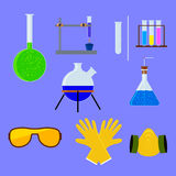 Set of laboratory flasks and test tube with personal protective equipment . Vector illustration. Royalty Free Stock Photo