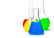 Set of laboratory flasks Royalty Free Stock Photos