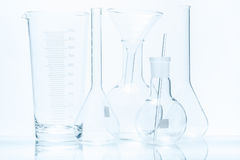 Set of laboratory glassware of different capacity and shapes Stock Images