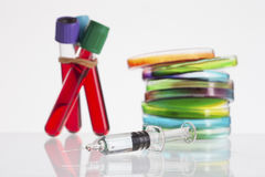 Set of laboratory microbiology research supplies Royalty Free Stock Photos