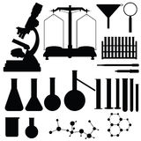 Set of laboratory silhouettes,  Royalty Free Stock Photo