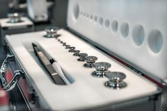 A set of laboratory weights. High-precision weights for standard weight measurements. Laboratory equipment Stock Image