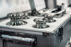 A set of laboratory weights. High-precision weights for standard weight measurements. Laboratory equipment Stock Photos