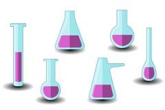 Set Laborausrüstung Getrennt auf weißem Hintergrund lizenzfreie abbildung