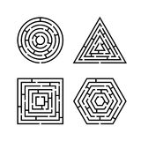 Set of Labyrinth Different Shapes for Game. Maze square, round, hexagon and triangle puzzle riddle logic game concept. Business sign. Vector illustration royalty free illustration