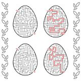 A set of labyrinths in the form of eggs. Black Stroke. A game for children. With the answer. Simple flat vector illustration isola. Ted on white background Royalty Free Stock Images