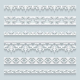 Set of lace border. S with shadows, ornamental paper lines vector illustration