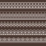 Set of lace borders. Frames. Seamless pattern. Brushes stock illustration