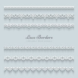 Set of lace borders. With shadow, ornamental paper lines Royalty Free Stock Photos
