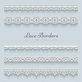 Set of lace borders. With shadows, ornamental paper lines Royalty Free Stock Photos