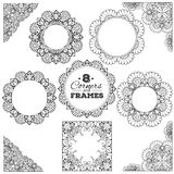 Set of lace frames and corners with transparent Royalty Free Stock Photo