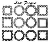 Set of lace frames of different shapes. Black vintage elements isolated on white background. Vector illustration Royalty Free Stock Images