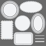 Set of lace frames napkins and ribbons. Royalty Free Stock Image