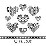 Set of lace hearts Stock Photos
