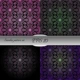 Set of lace-like seamless patterns. Nice hand-drawn illustration Royalty Free Stock Photo