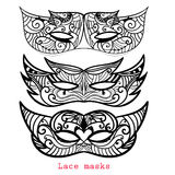Set of Lace mask for mardi gras. Carnival apparel. Abstractzentangle black mask Royalty Free Stock Image