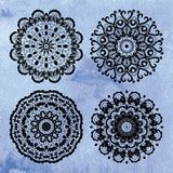 Set of lace ornaments on watercolor background Royalty Free Stock Photo