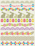 Set of Lace Paper with flower an easter eggs Royalty Free Stock Photos