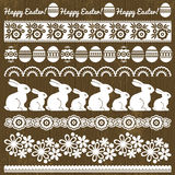 Set of Lace Paper with flower and easter eggs Royalty Free Stock Images