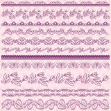 Set of Lace Paper with flower over pink backround, vector Royalty Free Stock Photos