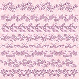 Set of Lace Paper with flower over pink backround, vector Stock Photography