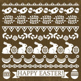 Set of Lace Paper with flowers and easter eggs Stock Photo