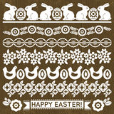 Set of Lace Paper with flowers and easter eggs Stock Photography