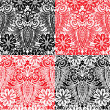 Set of Lace seamless patterns with flowers Stock Photography