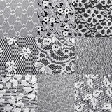 Set lace textures. Set different white lace textures Royalty Free Stock Photos
