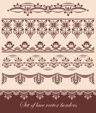 Set of lace vector borders. Set of lace scalloped vintage vector borders royalty free illustration