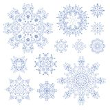 Set of laced contoured decorative rosettes - snowflakes Stock Images
