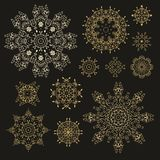 Set of laced decorative rosettes - snowflakes Royalty Free Stock Photos