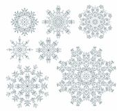Set of laced decorative rosettes - snowflakes Stock Photos