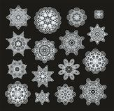Set of laced decorative rosettes - snowflakes Stock Image