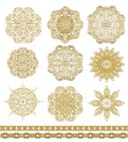 Set of laced decorative rosettes - snowflakes Royalty Free Stock Photography