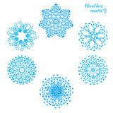 Set of laced snowflakes Royalty Free Stock Photography