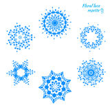 Set of laced snowflakes Stock Photos