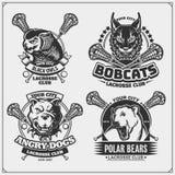 Set of lacrosse badges, labels and design elements. Sport club emblems with polar bear, bobcat, pitbulland owl. Print design for t. Shirts. Vector royalty free illustration