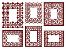 Set of lacy frames with carved openwork pattern. Vector Stencil. Stock Image