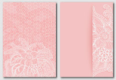 Set lacy pink backgrounds. Templates for design of cards, invitations and save the date Stock Photos