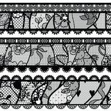 Set of lacy vintage trims. Royalty Free Stock Images